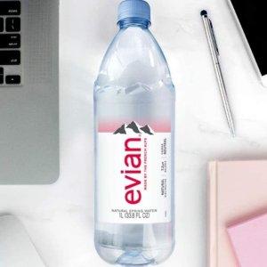 $13.76 一瓶$1.14补货:Evian 依云天然矿泉水1升装 33.81oz 12瓶