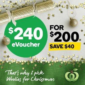 最高立省$50  有效期3年开抢:Woolworths 电子购物券 $170/$240/$350
