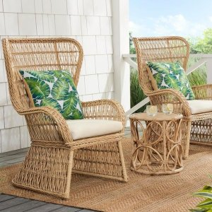 Hampton BayCoco Breeze 3-Piece Brown Wicker Outdoor Seating Set with Beige Cushions