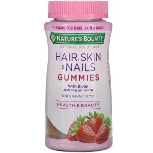 Natures BountyOptimal Solutions, Hair, Skin & Nails, Strawberry Flavored, 80 Gummies