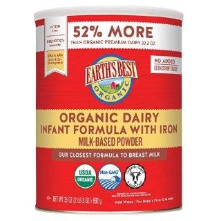 From $29.55Earth's Best Organic Infant Powder Formula with Iron, Omega-3 DHA & Omega-6 ARA 35 Ounce @ Amazon