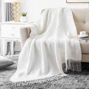 $12.99(原价$25.99)Hansleep 华夫格毛毯 针织毛毯超柔软 50x60 英寸