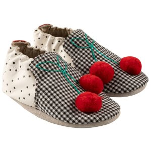RobeezCherry Soft Soles, Black/White Leather
