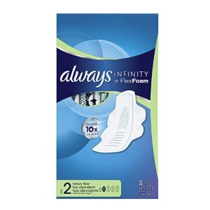 $16Always Infinity Size 2 Feminine Pads with Wings, Super Absorbency, Unscented, 32 Count - Pack of 3