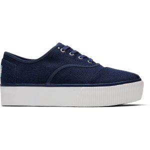 TomsBlue Canvas Platform Women's Cordones Boardwalk