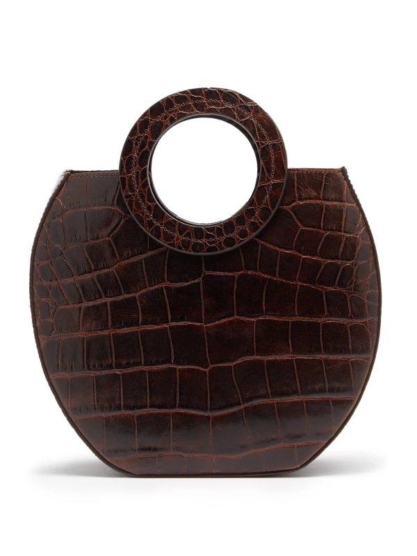 棕色鳄鱼纹小圆包