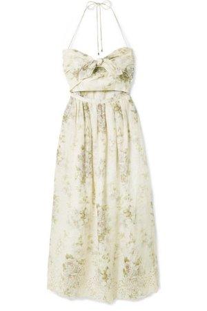 Zimmermann Iris cutout floral-print broderie anglaise linen dress