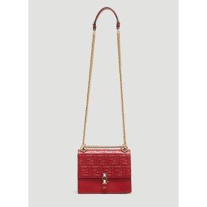 FendiKan I Small Leather Shoulder Bag in Red