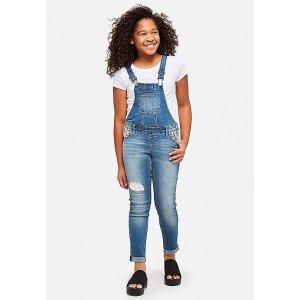 女童牛仔背带裤