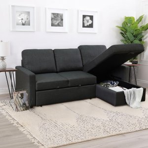 Black Friday Sale Live: Lincoln Fabric Reversible Storage Sectional with Pullout Bed