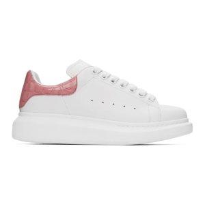 Alexander McQueen定价$675鳄鱼纹粉尾小白鞋