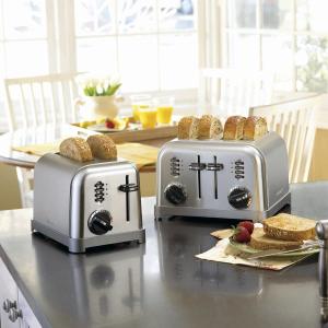 $69.99包邮(原价$79.99)Cuisinart 银色多士炉 一次烤四片面包 又香又脆快手早餐