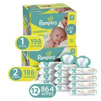 Pampers Swaddlers 1号尿不湿, 198 片+2号, 186 片+宝宝湿巾 72抽*12