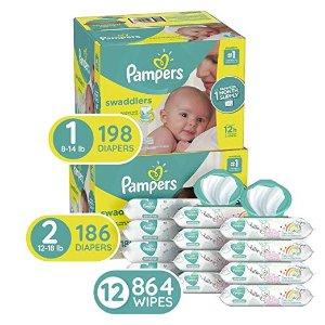 Swaddlers 1号尿不湿, 198 片+2号, 186 片+宝宝湿巾 72抽*12