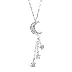 CZ Crescent Falling Star Pendant Necklace