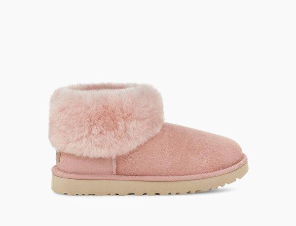 粉色毛茸茸雪地靴