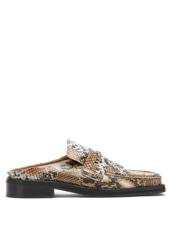 方头链条蛇纹乐福鞋