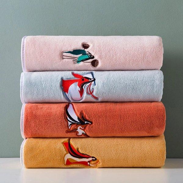 大号珊瑚绒浴巾/大方巾
