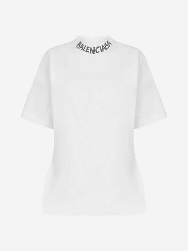 Logo curved-design纯棉T恤
