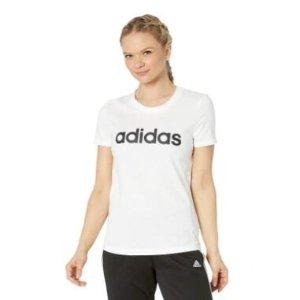$10.51(官网售价$30)Adidas Essentials Linear 女款100%纯棉修身白短袖 M码