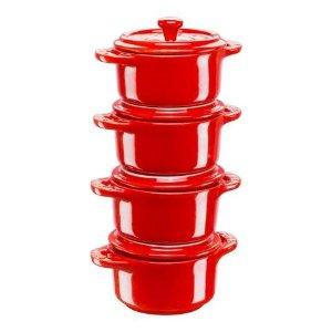 Staub樱桃红色小砂锅4件套