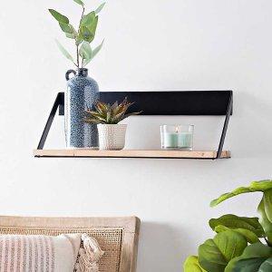 Small Metal and Natural Wood Wall Shelf
