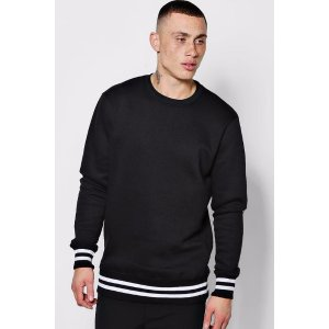 Loose Fit Sweater with Sports Rib - boohooMAN
