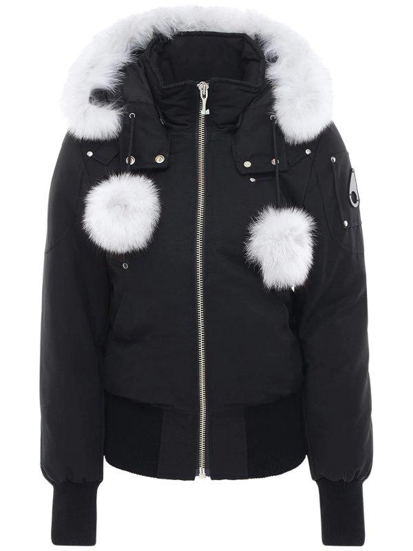 短款白色毛球夹克