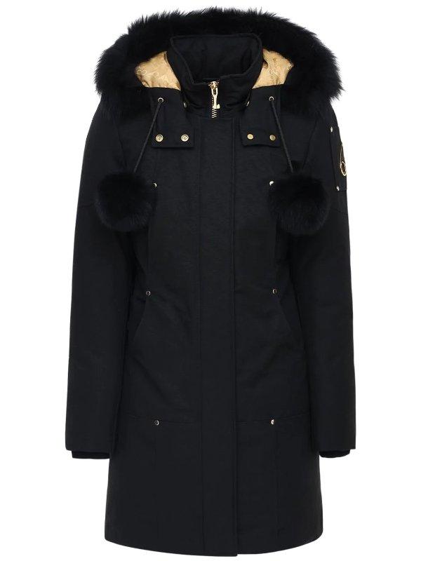 长款黑色毛球派克大衣
