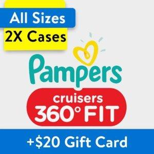 Pampers送$20礼卡Cruisers 360 Fit 尿布2箱装,以3号为例
