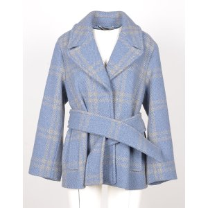 Max MaraLight Blue Checked Wool Blend Belted Jacket