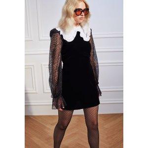 H&M黑色丝绒蕾丝裙