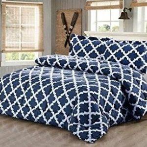 $35.99包邮Utopia Bedding 仿鹅绒蓝色格纹印花被套装 Queen尺寸