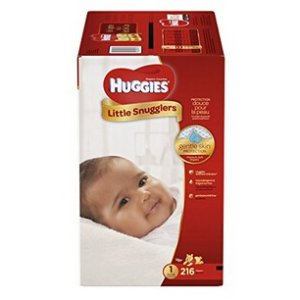 $27HUGGIES Little Snugglers Baby Diapers, Size 1, for 8-14 lbs., One Month Supply (216 Count)