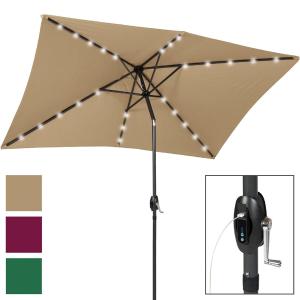 $48.99 (原价$159.95)庭院用太阳能晴雨伞 带LED灯 充电功能