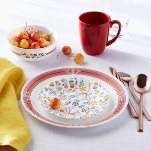 CorellePrairie Garden Red 16-piece Dinnerware Set, Service for 4