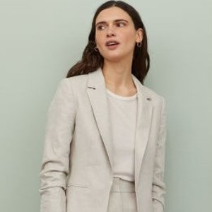 低至3折+会员满额再享8.5折H&M官网 精选亚麻系列美衣热卖 $22收休闲裤