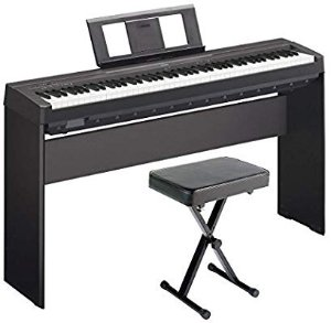 Yamaha P45 88-Key Weighted Digital Piano Home Bundle with Wooden Furniture Stand and Bench @ Amazon.com