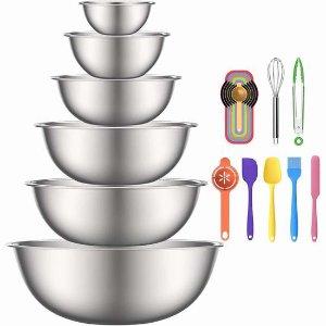 $31.99(原价$33.99)史低价:AIKKIL 不锈钢搅拌碗/搅拌盆+烘培工具19件套