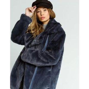 AshleyFaux Fur Womens Moto Jacket