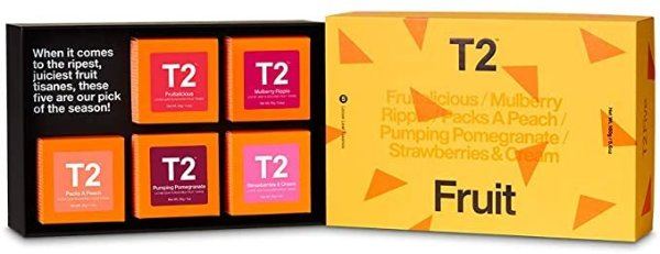 T2 Tea Five Fruit- 5 Mini Gift Cubes of Classic Loose Leaf Fruit Tea in Gift Pack, 160 g