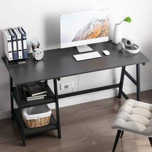 $59.99包邮(原价$139.99)SDHYL 1.4米电脑桌、书桌 带双层收纳 环保无甲醛释放