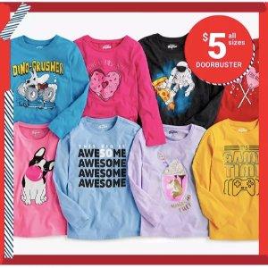 一律$5+包邮 100%棉质地 舒服又透气OshKosh BGosh 儿童T恤再降价 0-14岁码都有