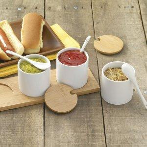调味品收纳 3个罐子+勺子+托盘套装