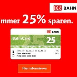 德国火车票打折和正价的都可以再打75折Bahncard 25三个月卡Probe BahnCard 25 原价19.9欧,现在只要17.9欧