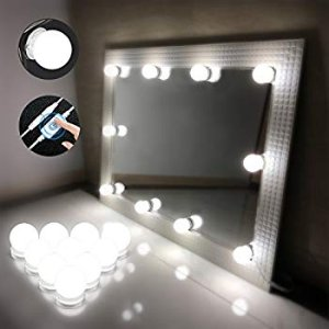 Chende Hollywood Style LED Vanity Mirror Lights Kit with Dimmable Light Bulbs, Lighting Fixture Strip for Makeup Vanity Table Set in Dressing Room (Mirror Not Include) - - Amazon.com