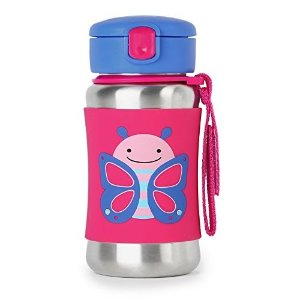 Skip HopKids Water Bottle With Straw, Stainless Steel Sippy Cup, Butterfly