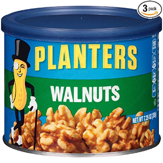现价$15.94(原价$19.92)Planters 无盐核桃 7.25 oz 3罐装