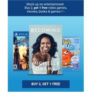 Buy 2, get 1 free Toys, Games, Video Games, Book & Movies @ Target