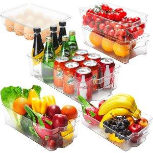 $39.98(原价$54.98)JINAMART 带把手 透明冰箱分类收纳盒6件套